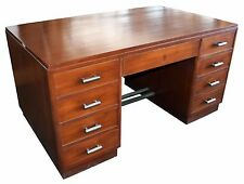 Art Deco Double Pedestal Mahogany Desk with Original Hardware #1437