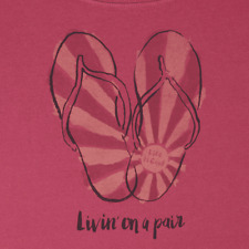 "NWTS! LIFE IS GOOD WOMENS S/S CRUSHER SCOOP FLIP FLOPS..  ""LIVIN' ON A PAIR"" (L)"