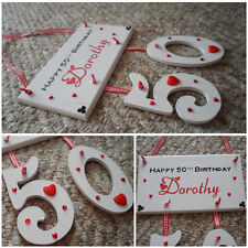 Personalised Happy Birthday Wooden Plaque With Hanging Numbers - Unique Gift