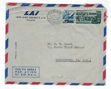 1950 Rome Italy Airmail to Harrisburg PA, LAI Airline FFC Letter 5L 100L Stamps