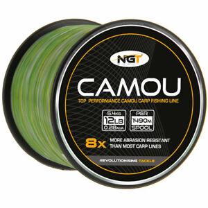 NGT Spool of Camou Camo Carp Fishing Line 12lb 1490m | NEW STOCK