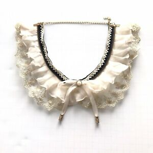 Women Choker Necklace Adjustable Color Ivory And Black