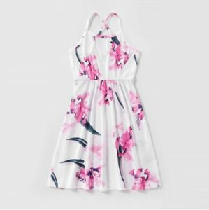 size 2/3/4/6/8 years new girls dress pink floral white girls dress- select size