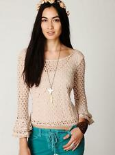 FREE PEOPLE~NEUTRAL TAUPE~GYPSY LACE *CROCHET BELL SLEEVE* CROP TANK TOP~L~RARE