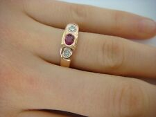 14K SOLID ROSE GOLD 0.70 CT T.W. OVAL RUBY AND TWO DIAMONDS LADIES GYPSY RING