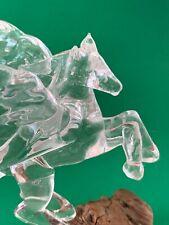 Hand Blown Handmade Glass Winged Horse Pegasus On Gnarled Wood Base