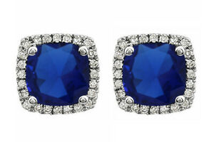 10K Solid White Gold Sapphire & 1/8 Ct Natural Diamond Halo Stud Earrings