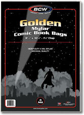 (50) BCW-GOL-M4 Golden Age Comic Mylar 4mil Sleeves Bags Covers Store Protect