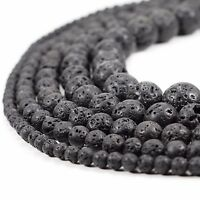 "Natural Black Lava Beads Round Volcanic Rock Gemstone 15"" 4 6 8 10 12 14mm sizes"