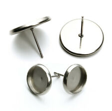 50pcs Stainless Steel Earring Blank Base Trays Fit 8/10/12/14/16mm Cabochon