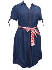Womens PLUS size  26 28 30 Denim dress button thru shirt style short sleeves