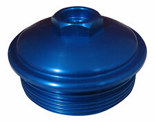 6.0L Powerstroke Billet BLUE Aluminum Fuel Filter Cap w/ Pressure Test Port
