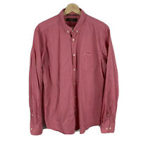 Ben Sherman Mens Button Up Shirt Size Extra Large XL Slim Fit Red Long Sleeve