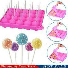 20 Silicone Tray Pop Cake Mould Lollipop Party Cupcake Baking Mold + Stick Set