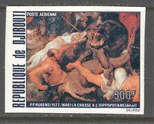 "DJIBOUTI 1978, RUBENS PAINTING: ""HIPPOPOTAMUS HUNT"", Scott C114 IMPERFORATE MNH"