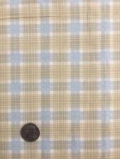 "BTHY 18""x44"" COTTON FABRIC  ""SENTIMENTAL JOURNEY"" BY  SSI CREAM BLUE TAN  PLAID"