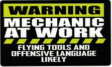 Funny Warning Sticker Mechanic at work Toolbox Box Garage Shop Wall Decal