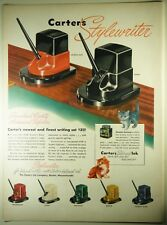 Vintage 1946 CARTER'S Fountain Pen Ink Full-Pg Magazine Ad: STYLEWRITER INK WELL