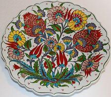 "Special Custom Handmade 12"" Turkish Iznik Raised Floral Pattern Ceramic Plate"