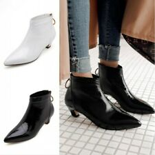Womens Patent Leather Kitten Heels Pointed Toe Ankle Riding Boots Back Zip Shoes