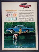 1961 Chevrolet Impala Sport Coupe blue car photo vintage print Ad