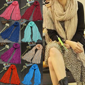 Lightweight Voile Scarf Shawl Wrap Solid Color Long Women Winter Autumn Warm
