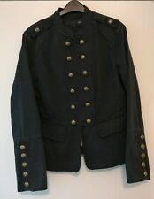 NEXT Black Jacket Coat Size UK 16 Military Style Steampunk Goth