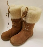 UGG Montclair 1892 White Chestnut Lace-up Fur Lined Boots Womens Size 8w/ box
