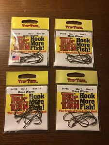 NEW Lot Of 4 TRU TURN BASS WORM HOOKS SIZE 1/0 & 1 047ZS 7 PACK Fish Hook Tackle