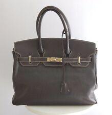 Pre-owned Genuine Leather Brown Birkin Style Handbag Large