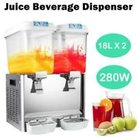 18L+18L 2 Tank Commercial Juice Beverage Dispenser Machine Cold Frozen Ice Drink
