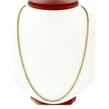 """Men's 14K Yellow Gold Long 24"""" 2.35mm Rope Link Chain Necklace w/ Barrel Clasp"""