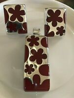 925 Taxco Set Earring-Pendant Red Jasper Enamel Inlay flowers Made in Mexico