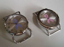 SET OF 2 SILVER FINISH CANCER RIBBON WATCH FACES FOR BEADING,RIBBON OR OTHER USE