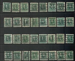 USA Scott #  300  1¢ Franklin Lot of 32 Different Precancel stamps (300-5)