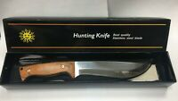 11.8 Inch Stainless Steel Survival Hunting Knife Wood Handle Camping With Sheath