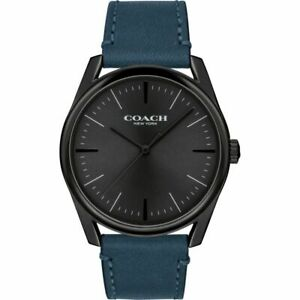 Coach Watch 14602399 Blue Leather Strap Black Face Men's