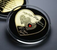 40th RUBY WEDDING ANNIVERSARY Heart Shaped Commemorative with Gem. Gift/Present