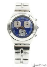 New Swatch Irony Invitation Chrono Steel Mid Size Date Watch 37mm YMS400G $180