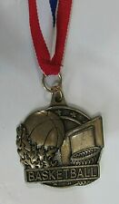 Vintage 1990's Bronze Basketball Medal on Red White Blue Nylon Ribbon Free S/H