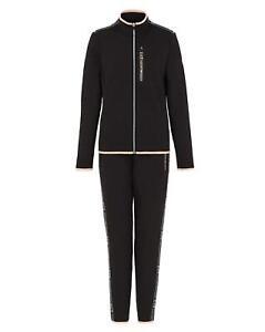 Tracksuit EA7 Emporio Armani 7 EA Woman Black Jacket Pants Logo Fleece