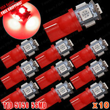 10 X Super Bright RED T10/168/2825 Interior/License Plate 5-SMD LED Light Bulbs