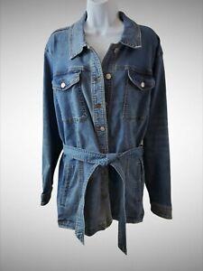 Maurices Women's Size 3 Medium Wash Denim Jacket Trench Coat Style-14ah