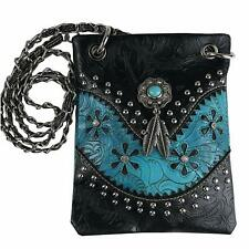 Women's Western Mini Messenger Bag Flower Leaf Purse Handbag for Women Blue