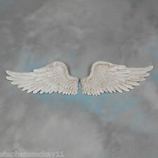 Pair of Decorative Antique White Angel Wings Wall Hangings - 40 cm Wide Each