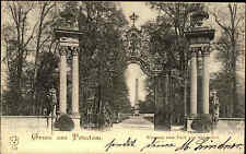 Potsdam Brandenburg 1900 Eingang Park Schloss Sanssouci Tor Allee Obelisk Säulen