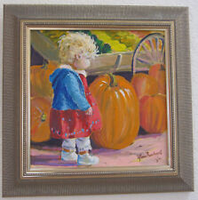 Jim Mayne Freeheart Original Acrylic Painting Framed & Signed Girl with Pumpkin