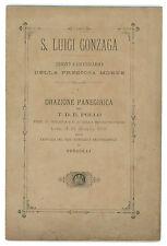 POLLO T. D. E. S. LUIGI GONZAGA TERZO CENTENARIO MORTE ORAZIONE VERCELLI 1891