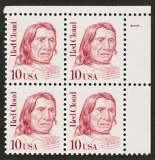 US USA Sc# 2175 MNH FVF PL# BLOCK Red Cloud Oglala Lakota Block Tag Dull Gum