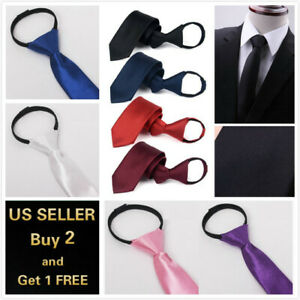 Men's Solid Color Ready Knot Pre Tied Formal Zipper Tie Neck Wear